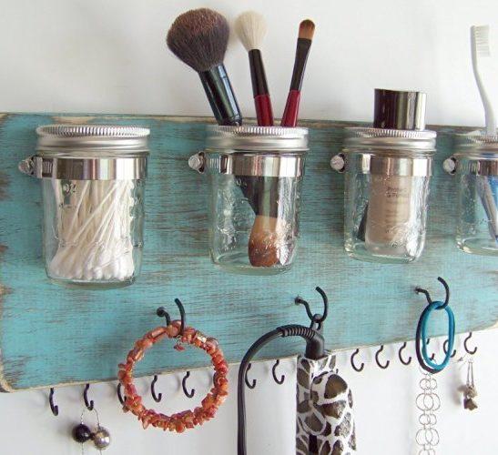 Image result for mason jar makeup organizer