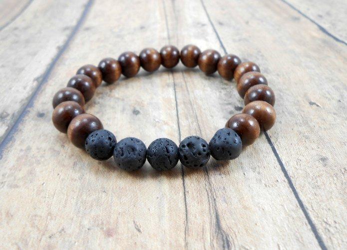 Lava Rock Dark Wood Bracelet Size 7 Inch 10mm Stone Essential Oil Diffuser Mens Womens